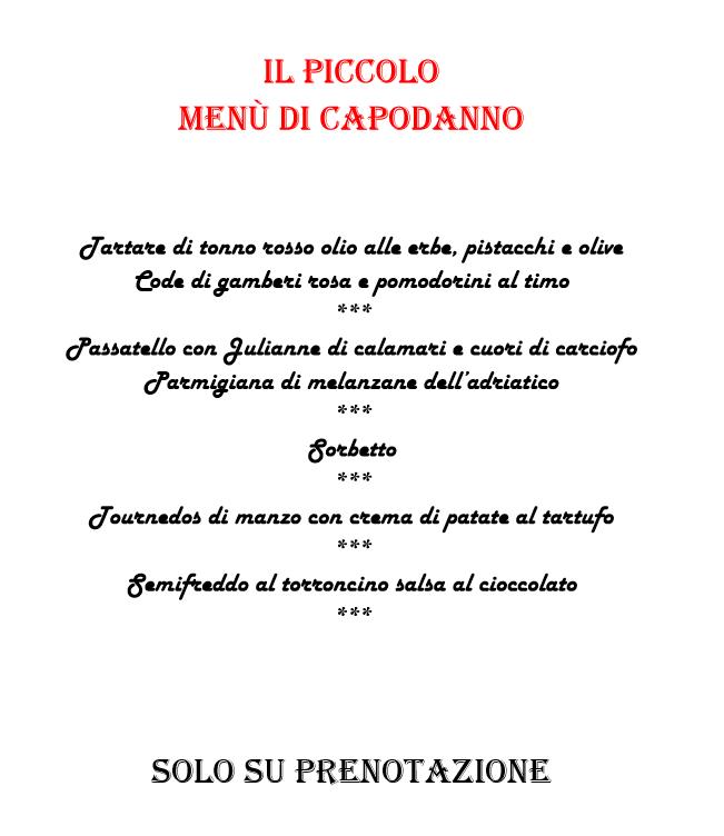 Proposte per natale e capodanno del ristorante piccolo for Il piccolo hotel progetta le planimetrie